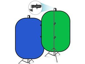 Neewer Green Screen 5'x7' Chromakey Blue-Green Collapsible with Support Stand Kit: 2-in-1 Reversible Green Background Pop-Up Panel for Photo Studio Video Shooting, Live Streaming ,gaming streaming etc