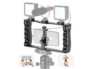 Neewer Aluminum Smartphone Video Rig, Filmmaking Case, Phone Video Stabilizer Grip Tripod Mount for Videomaker Film-Maker Compatible with 11 11 Pro 11 Pro Max X Xs 13 13 Pro 13 Mini 13 Pro Max Android