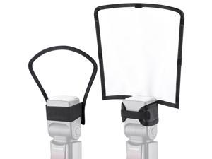 Neewer 2 Pieces Camera Speedlite Flash Softbox Diffuser Kit, 10x9x8inches Bendable White Reflector and 7x8x4 inches Silver/White Two-Side Reflector, Universal Mount for Nikon Canon Sony