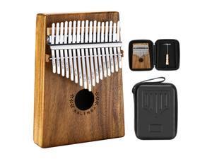 Neewer Kalimba 17 keys Thumb Piano, Kalimba Mbira Sanza Finger Piano with Waterproof Protective Box, Tune Hammer and Study Instruction, Musical Instrument Gift for Kids Adults Beginners(Acacia Wood)