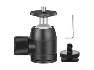 Neewer Mini Ball Head 1/4 inch Screw 360 Degree Rotatable Tripod Head with Lock and Hot Shoe Mount Adapter for LED Light,Ring Light, Tripod, Monopod, Slider, Camera, Load Up to 6.6 pounds/3 kilograms