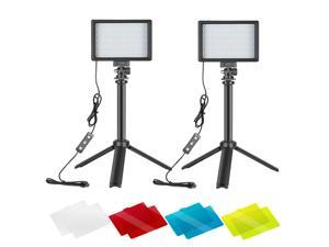Neewer Dimmable 5600K USB LED Video Light 2-Pack with Adjustable Tripod Stand and Color Filters for Tabletop/Low-Angle Shooting, Zoom/Video Conference Lighting/Game Streaming/YouTube Video Photography