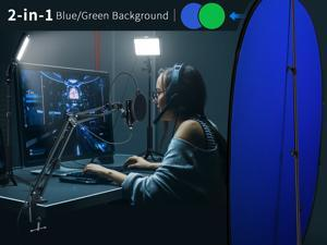 Neewer 2 Packs Key Light Chromakey Blue-Green Collapsible Backdrop USB Microphone Gaming Kit: USB Led Video Light with 192KHZ/24Bit Supercardioid Condenser and 2-in-1  Background Pop-Up Game Streaming