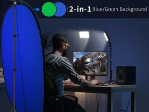 Neewer 2 Packs Key Light With Chromakey Blue-Green Collapsible Backdrop Kit: USB Desk Mount Led Video Light on Gaming Desk with Adjustable Tripod Stand and 2-in-1 Reversible Background Pop-Up Panel