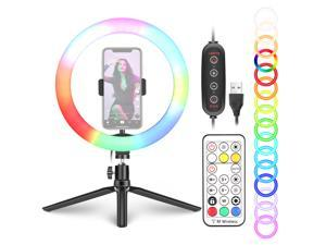 Neewer 10-inch RGB Ring Light Selfie Light Ring with Tripod Stand & Phone Holder, Remote Control, Dimmable LED Desk Ringlight 29 Colors Modes for Makeup/Live Streaming/YouTube/Tiktok/Video Shooting