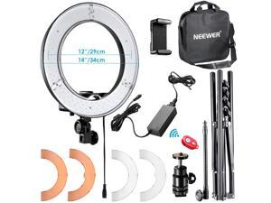 Neewer 12-inch Inner/14-inch Outer LED Ring Light and Light Stand 36W 5500K Lighting Kit with Soft Tube, Color Filter, Hot Shoe Adapter, Bluetooth Receiver for Camera Smartphone Youtube Video Shooting