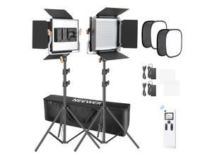 Neewer 2 Packs Advanced 2.4G 480 LED Video Light Photography Lighting Kit with Bag, Dimmable Bi-Color LED Panel with 2.4G Wireless Remote, 660 LED Panel Softbox and Light Stand for product photograpgy