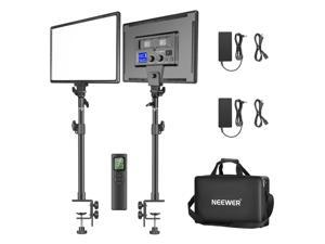 """Neewer 90W Desk Mount LED Video Light C-Clamp Stand Kit with 2.4GHz Wireless Remote, 2-Pack 45W Dimmable Bi-Color 18"""" Panel Light 3200K–5600K 4800 Lux CRI97+ for Game/YouTube/Live Streaming"""