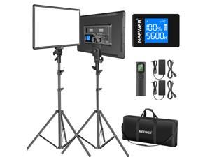 """Neewer 18"""" Led Video Light Panel Lighting Kit with Remote, 2-Pack 45W Dimmable Bi-Color +Light Stand, 3200K–5600K Soft Light CRI 97+ 4800Lux for Game/Live Streaming /YouTube/Photography"""