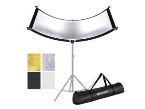 Neewer Clamshell Light Reflector/Diffuser for Studio and Photography with Carry Bag, 66x24 Inch Arclight Curved Eyelighter Lighting Reflector, Black/White/Gold/Silver (Light Stand Not Included)
