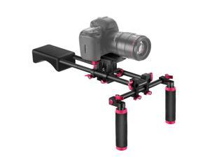 Neewer Camera Shoulder Rig, Video Film Making System Kit for DSLR Camera and Camcorder with Soft Rubber Shoulder Pad and Dual Hand Grips, Compatible with Canon/Nikon/Sony, etc (Red + Black)