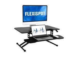 FLEXISPOT 31 inch Black Standing Desk Converter Height Adjustable Stand Up Desk Riser Home Office Laptop Workstation with Removable Keyboard Tray