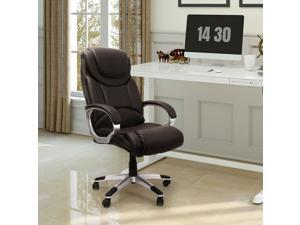 FlexiSpot Ergonomic Leather Office Chair Mahogany Soft Breathable PU Leather Armrest/Height Adjustable/Swivel Rolling Caster