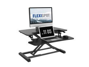 "FLEIXSPOT Home Office Height Adjustable Standing Desk Converter MT7 Series 28"" Width Computer Desk Riser with Removable Deep Keyboard Tray Black"