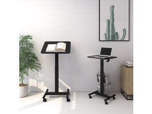 Flexispot Sit-Stand Mobile Laptop Standing Desk Rolling Computer Cart with Swivel Top Movable Wheels Gas Spring Riser Height Adjustable Workstation for Office Home Medical