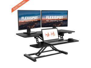 "FlexiSpot Motorized Standing Desk Converter EMT7 Series 40"" Width Electric Stand up Desk Riser for Monitor and Laptop Computer Workstation for Home Office"