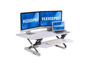 "FLEIXSPOT Home Office Height Adjustable Standing Desk Converter MT1 Series 47"" Width Computer Desk Riser with Removable Deep Keyboard Tray White"