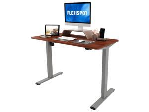 FLEXISPOT Home Office Standing Desk 48 x 24 Inches Height Adjustable Desk Electric Sit Stand Desk with Cable Management (Gray Frame +Mahogany Top)