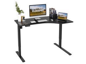FLEXISPOT Home Office 55'' L-shaped Electric Height Adjustable Desk  Desk Computer Desk Gaming Desk Large Workstation Black