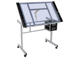 Adjustable Multifunctional Drafting Drawing Table Desk Tempered Glass Top Art Craft wDrawers Castors