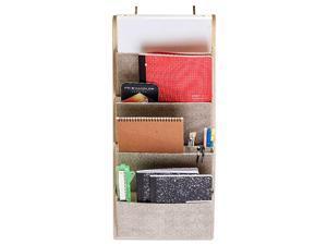 4 Pocket Fabric Wall File Organizer Home File Holder Office Hanging File Folder Organizer Over The Door Hanging Folder Organizer by EW Beige