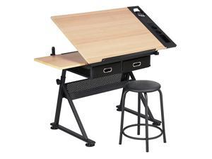 Height Adjustable Drafting Draft Desk Drawing Table Desk Tabletop Tilted Art Craft Work Station w 2 Storage Drawer and Stool
