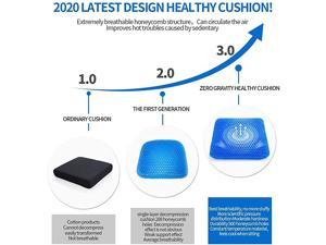 Gel Seat Cushion Double Thick Seat Cushion with NonSlip Cover Breathable Honeycomb Design Cushion for Pressure Relief Back Pain Car Home Office Chair Wheelchair