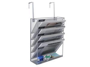 Hanging File Organizer 6 Tier Wall Mount Document Letter Tray Organizer with Universal Partition Hanger Silver