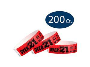 Over 21 Neon Red 34quot Tyvek Wristbands 200 Pack Paper Wristbands for Events