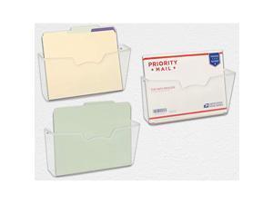 3 Pack  Clear Single Pocket Wall Mount File Holder