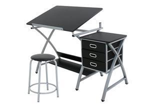 Adjustable Drafting Table Art amp Craft Drawing Desk Craft Station Art Hobby Folding wStool and Drawers