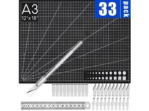 Precision Exacto Knife Upgrade Self Healing Cutting Mat Hobby Knife Set with 30 PCS Exacto Knife Blades Cutting A3 Mat Carving Craft Knife Hobby Knife Exacto Knife Kit