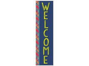 Blue and Red Plaid Welcome Back to School Vertical Banner Classroom Decoration 12 x 45