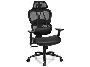 Mesh Office Chair High Back Computer Chair wRemovable Lumbar Support Adjustable Headrest and Armrest Swivel Reclining Ergonomic Mesh Office ChairBlack