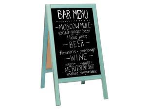 Wooden AFrame Sign with Eraser amp Chalk 40 x 20 Inches Magnetic Sidewalk Chalkboard Sturdy Freestanding Turquoise Sandwich Board Menu Display for Restaurant Business or Wedding