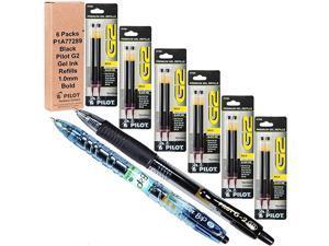 Pilot G2 Refills Black Gel Ink 10mm Bold Pt 6 Packs of Refills Plus 1 Pilot G2 10 Bold Pt Black Pen and 1 Pilot B2p Black Pen