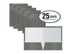 2 Pocket Glossy Laminated Gray Paper Folders Box of 25 Letter Size Gray Paper Portfolios by  25 Pack