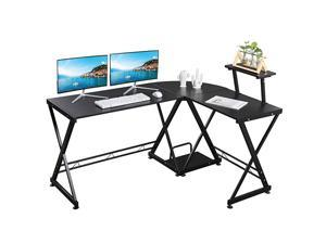 GreenForest L Shaped Desk Corner Computer Gaming Desk with Moveable Shelf 58quot 44quot PC Table Workstation for Home Office Oak