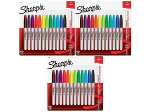 Sharpie 30075PP Permanent Markers Fine Point Assorted Colors 12 Count Pack of 3