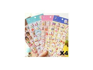 EatingBitingR4 Sheets More Than 140pcs Japanese Maneki Neko Foam Stickers Lucky Fortune Fengshui Stickers Diary Scrap Book Scrapbooking Decor Decoration School Office Stationery Reward Gift