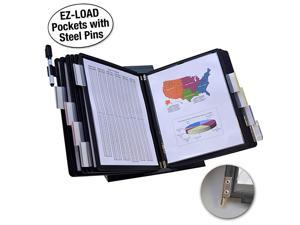 DocuMate 10Pocket Desk Reference Organizer with Black EasyLoad Pockets SteelReinforced Pins and Free Bonus Panel