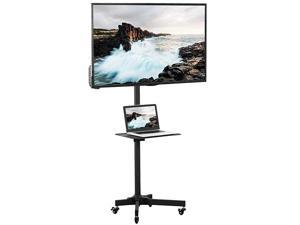 Mobile TV Cart for 2355 inch LCD LED Plasma Flat Panel Screen TVs up to 55 lbs | Pro Height Adjustable Rolling White Stand with Laptop Shelf Locking Wheels Max VESA 400x400 STANDTV04MW