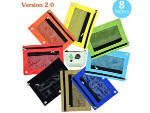 Cute Color Binder Pencil Pouches for 3 Holes Ring Binder with Large Capacity Strong Zippers and Clear Windows 8 Pcs Plus 1 Slim Net Pencil Case by