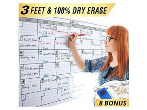 Dry Erase Monthly Large White Board Wall Calendar 38quot x 50quot Jumbo Laminated Erasable Month whiteboard Huge 30 Day Planner