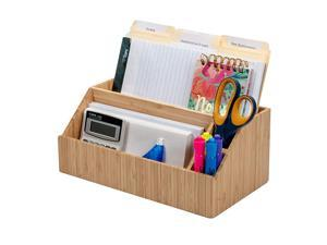 Bamboo Desktop All-In-One Organizer for File Folders, Notepads, Pens, Stationary Items, Small Electronics and more