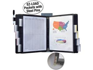 Ultimate Office DocuMate 10Pocket Wall Reference Organizer with Black EasyLoad Pockets SteelReinforced Pins and Free Bonus Panel