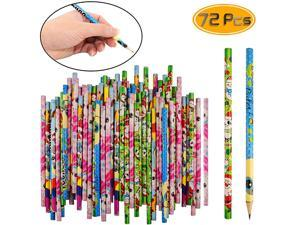 72 Pcs Natural Wood Pencils HB Assorted Character Designs Kids Pencils For Office School And Children Prize Gifts7 inches Pencils For Kids Natural Wood Pencils Mechanical Pencils