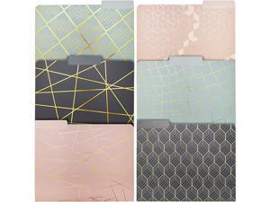 Geometric Gold Foil Decorative File Folders 6 Designs 12 Pack