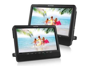 10'' Car Dual Portable DVD Players, 1024x800 HD LCD TFT, USB/SD/MMC Card Readers, Built-in 5 Hours Rechargeable Battery, Stereo Sound, Regions Free, AV Out & in