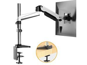 Monitor Stand Premium Gas Spring Single Arm Monitor Desk Mount Fits 17 to 32 Inch FlatCurved Computer Screens Height Adjustable Aluminum Vesa Bracket with C Clamp and Grommet Kit